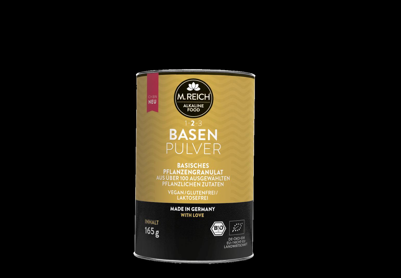M. Reich BasenPulver mit Auflistung der Produktvorteile.